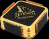 Black Leatherette Square Coaster Set with Gold Edges Coasters