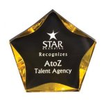Black/Gold Luminary Star Acrylic Award Acrylic Awards with Background Design