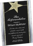 Black/Gold Standing Star Acrylic Recognition Plaque Acrylic Awards with Background Design