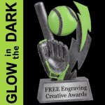 GLOW in the DARK Baseball Trophy 2 Baseball Trophies