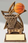 Star Series Sculpted Antique Gold Basketball Resin Trophy  Basketball Trophies