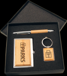 Maple Finish Gift Set Business Card Holders