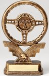 Premium Scultped Antique Gold Steering Wheel Resin Trophy Car Show Trophies