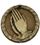 Wreath Christian Praying Hands Medal Christian Medals
