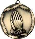 Ribbon Praying Hands Medal Christian Trophies