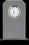 Clipped Corners Clear Glass Clock with Black Base Clocks - Desk
