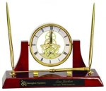 Executive Rosewood Piano Finish Clock/Desk Set Clocks - Desk