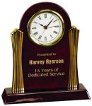 Piano Finish Desk Clock with Gold Metal Columns Clocks - Desk