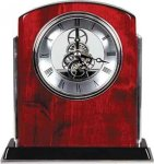 Rosewood Piano Finish Arch Clock with Silver Trim Clocks - Desk