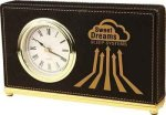 Black Leatherette Rectangle Desk Clock Clocks - Desk