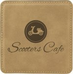 Light Brown Square Leatherette Coaster Coasters