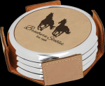 Light Brown Leatherette Round Coaster Set with Silver Edge Coasters