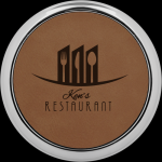 Dark Brown Leatherette Round Coaster with Silver Edge Coasters
