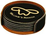 Black Round Leatherette Coaster Set Coasters