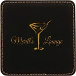 Black Square Leatherette Coaster Coasters