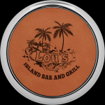 Rawhide Leatherette Round Coaster with Silver Edge Coasters
