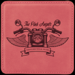 Pink Leatherette Square Coaster Coasters