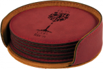 Rose' Leatherette Round Coaster Set Coasters