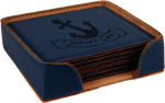 Blue  Leatherette Square  Coaster Set Coasters