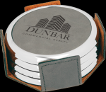 Gray Leatherette Round Coaster Set with Silver Edge Coasters
