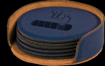 Blue Round Leatherette Coaster Set Coasters