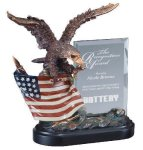 Eagle On Flag With Glass Eagle Trophies