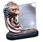 Resin Eagle and Flag with Glass Eagle Trophies