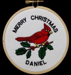 Cardinal Christmas Ornament Embroidered Christmas Ornaments