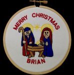 Manger Christmas Ornament 1 Embroidered Christmas Ornaments