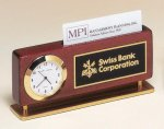 Rosewood Piano Finish Clock With Business Card Holder Employee Awards