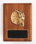 Walnut Piano Finish Fireman Plaque Fire and Safety Awards