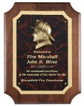 Genuine Walnut Plaque With Fireman Casting Fire and Safety Awards