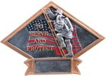 Firefighter Diamond Plate Resin Fire and Safety Trophies