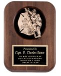 Genuine Walnut Plaque With Fireman Casting Fireman Plaques and Police Plaques