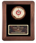 Genuine Walnut Frame With Fireman Clock Fireman Plaques and Police Plaques