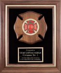 Genuine Walnut Frame With Fireman Casting Fireman Plaques and Police Plaques
