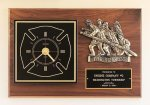 Fireman Award Clock with Antique Bronze Finish Casting. Fireman Plaques and Police Plaques