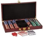 Rosewood Finish Card & Dice Set Games