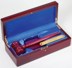 Gavel In Wood Box Rosewood Gavel and Sounding Blocks