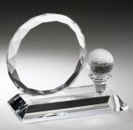 Crystal Award with Golf Tee Golf Trophies