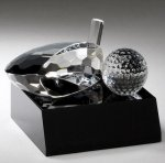 Driver & Golf Ball Crystal Award Golf Trophies