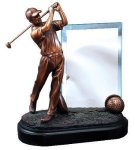 Golfer with Glass Golf Trophies