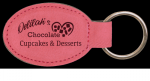 Pink Leatherette Oval Keychain Key Chains