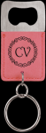Leatherette Pink Rectangle Bottle Opener Key Chain Key Chains