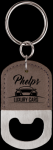 Leatherette Gray Oval Bottle Opener Key Chain Key Chains