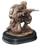 Soldier Kneeling With Rifle Drawn Military Awards