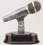 Pewter and Gold Microphone Award Music Trophies