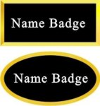 Engraved Plastic Name Badge with Gold Plastic Frame Name Badges