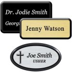 Engraved Plastic Name Badge with Black Plastic Frame Name Badges