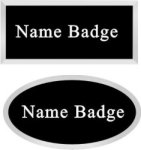 Leather Name Badge with Plastic Silver Frame Name Badges